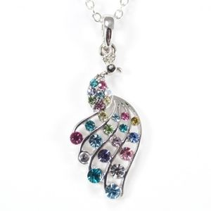 Stunning Colouful Crystal Peacock Necklace